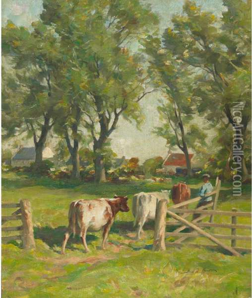 Wester Howgate (leading Cows To Pasture) Oil Painting - William Mason Brown