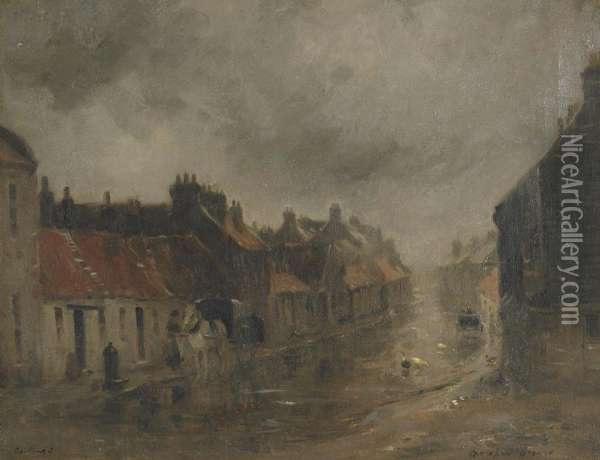 Coaching (grey Day In The Village) Oil Painting - William Mason Brown