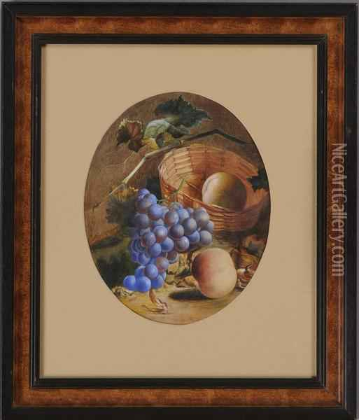 Still Life With Fruit And Basket Oil Painting - William Mason Brown