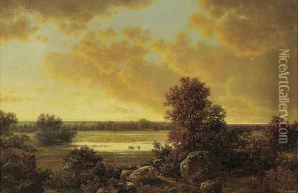 Sunset Over The Marsh Lands Oil Painting - William Mason Brown