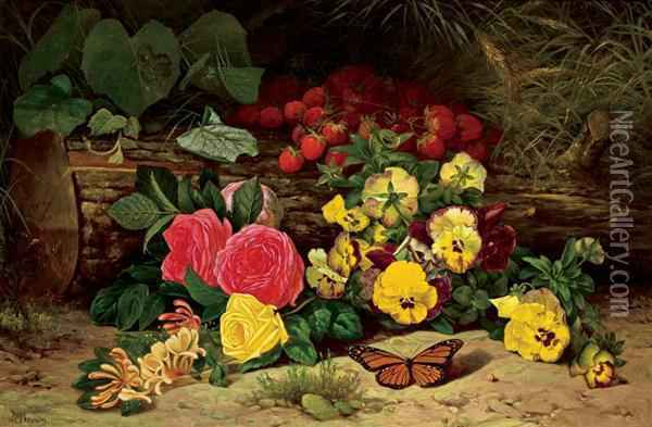 Monarch With Pansies And Fruits Oil Painting - William Mason Brown
