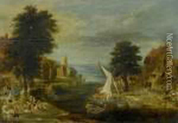 Town By A River With Tradespeople And Fishermen Oil Painting - Jan The Elder Brueghel