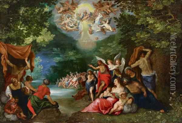 Taufe Christi Oil Painting - Jan The Elder Brueghel