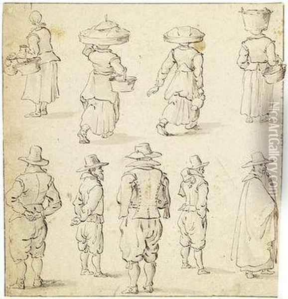 A Study Sheet With Several Figures Oil Painting - Jan The Elder Brueghel