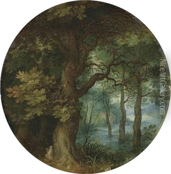 A Wooded Landscape With A Hermit Monk Oil Painting - Jan The Elder Brueghel