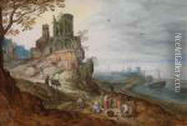A Extensive Coastal Landscape With A Port Oil Painting - Jan Brueghel the Younger