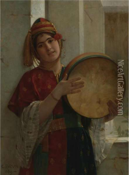 The Tambourine Player Oil Painting - Guillaume Charles Le Brun