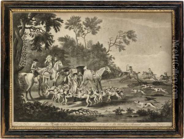Fox Hunting: Unkenneling The Fox Hounds; Going To Cover; Diging Forthe Fox; And The Death Of The Fox Oil Painting - Thomas Burford