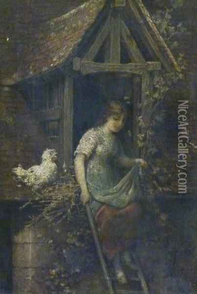 Girl And Chicken In A Doorway Oil Painting - Hendricus-Jacobus Burgers