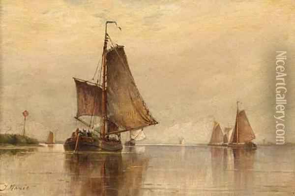 Fishing Boats On The Scheldt Oil Painting - Hendricus-Jacobus Burgers
