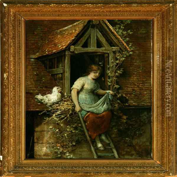 A Young Girl Collecting Eggs Oil Painting - Hendricus-Jacobus Burgers