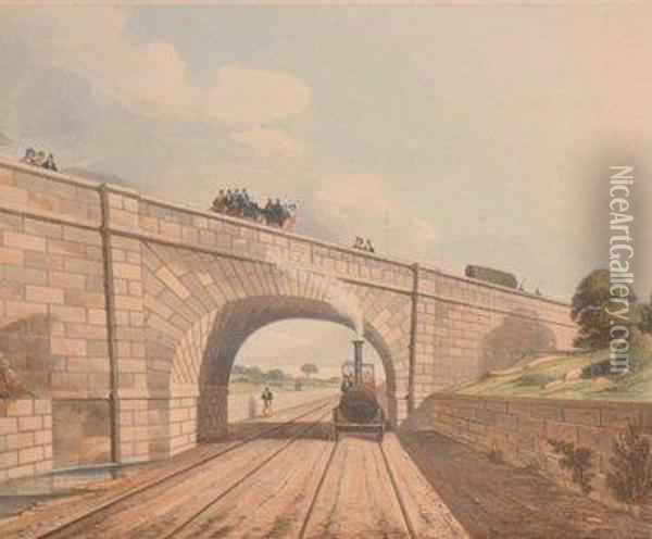 Viaduct Across The Sankey Valley Oil Painting - Thomas Talbot Bury