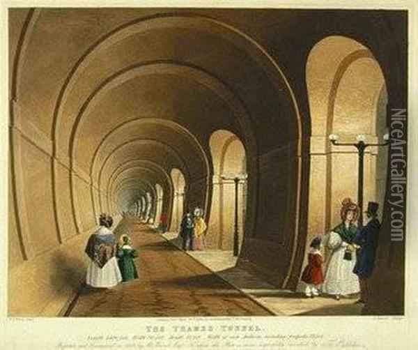 The Thames Tunnel Oil Painting - Thomas Talbot Bury