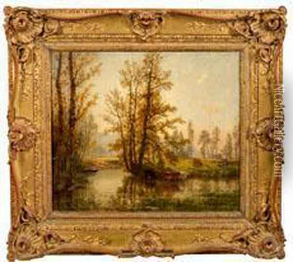 Hirtin Mit Kuhen Am Bach Oil Painting - Charles Busson