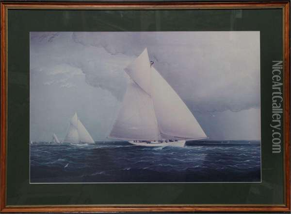Volunteer Vs Thistle, Americas Cup Race Oil Painting - James E. Buttersworth
