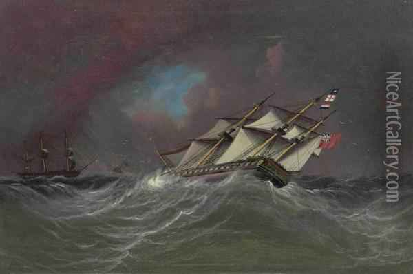 Caught In A Gale Oil Painting - James E. Buttersworth