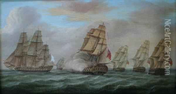 English And French Fleets In Line Of Battle Oil Painting - James E. Buttersworth