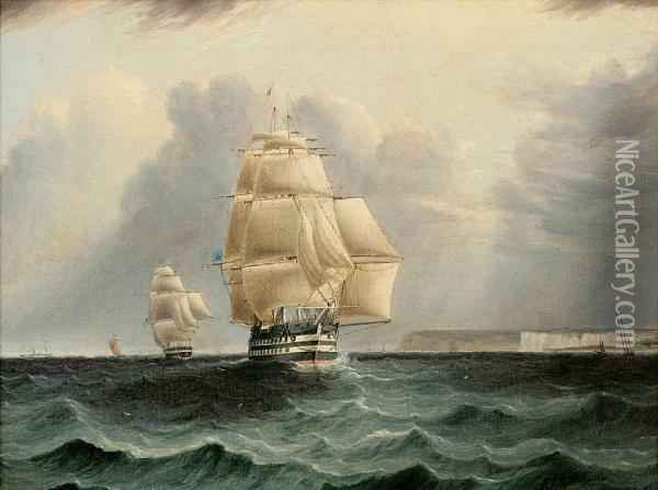 A British Ship Of The Line Leading The Bluesquadron Past Dover Oil Painting - James E. Buttersworth