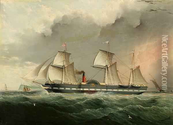 The U.s.m. Oil Painting - James E. Buttersworth