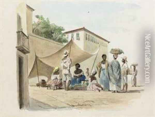 Rio De Janeiro: Negroes Selling Fruit And Vegetables Oil Painting - Abraham Louis Buvelot