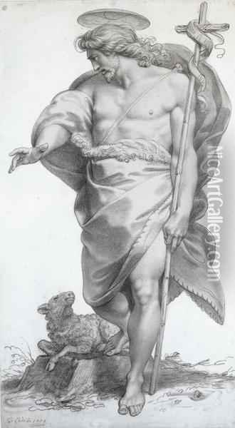 Standing Figure Of St. John The Baptist Oil Painting - Giuseppe Cades