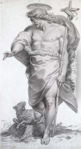 Standing Figure Of Christ As The Good Shepherd Oil Painting - Giuseppe Cades