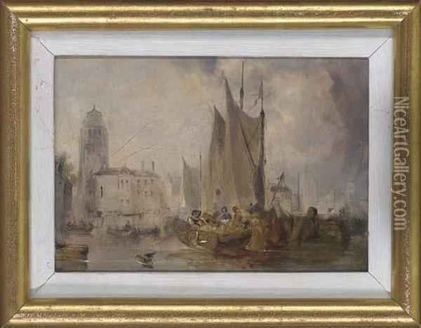Venice, Sunset; And The Bacino, Venice Oil Painting - J. Calcott