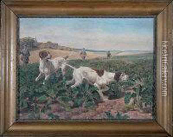 Three Sportsmen And Two Pointers In A Turnip Field Oil Painting - Edmund Caldwell