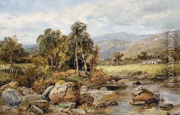 River Landscape, Near Capel Curig, North Wales Oil Painting - James T. Callowhill