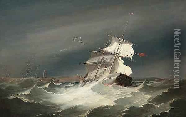 The 'united Kingdom' Of Sunderland Running Into Swansea Harbour In A Gale Oil Painting - George Cambers