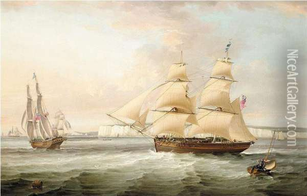 A Ship In Two Positions Off Flamborough Head Oil Painting - George Cambers