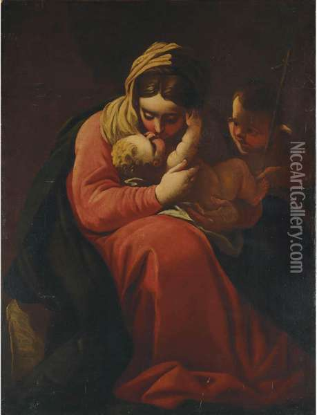 Madonna And Child With Saint John The Baptist Oil Painting - Luca Cambiaso