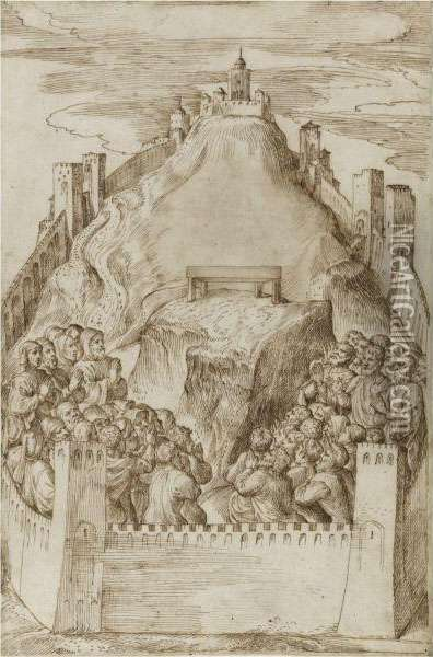 A Walled Ancient City, Possibly Jerusalem, People Praying In Frontof An Altar Oil Painting - Domenico Campagnola