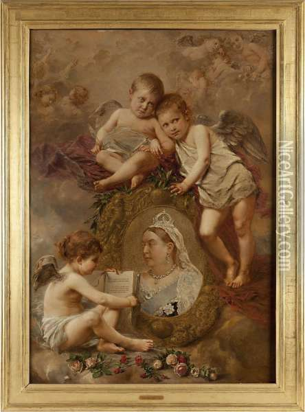 The Apotheosis Of Queen Victoria Oil Painting - Henry Campotosto