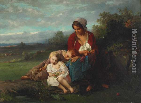 Mother And Children Resting In A Field Oil Painting - Henry Campotosto