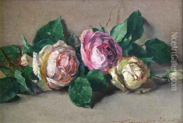 Still Life Of Three Roses Oil Painting - Henry Campotosto