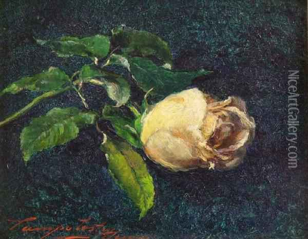 Still Life Of A Yellow Rose Oil Painting - Henry Campotosto