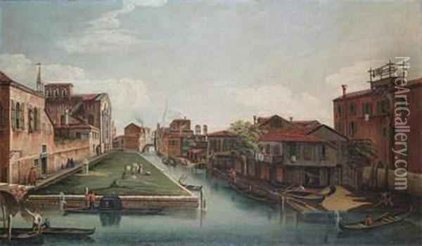 View Of Santa Maria Dei Servi In Cannaregio, Venice Oil Painting - (Giovanni Antonio Canal) Canaletto