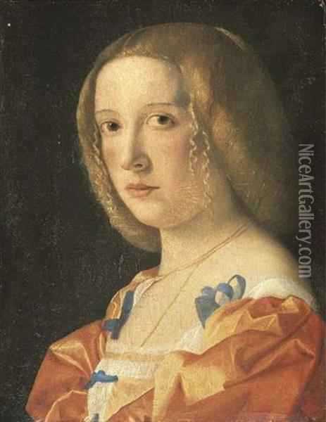 Portrait Of A Young Lady, Bust-length, In A Blue-bowed Orange Dress Oil Painting - Giovanni De' Busi Cariani