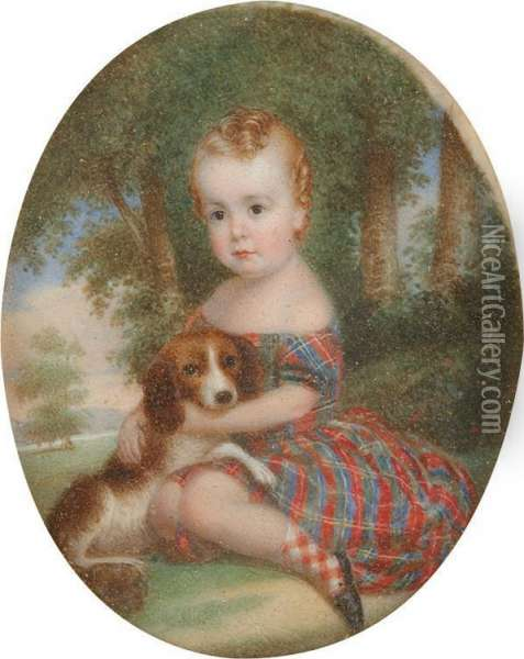 Young Child With Spaniel Oil Painting - John Carlin