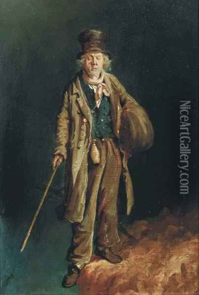 Beggar On The Brink Of Disaster Oil Painting - John Carlin