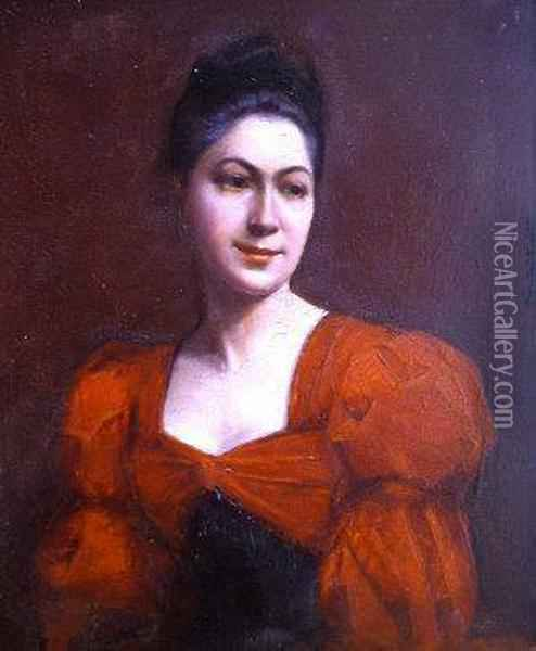 Length In A Red Dress Oil Painting - Carolus (Charles Auguste Emile) Duran
