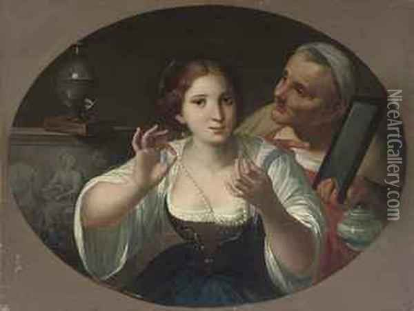 An Allegory Of Vanity, In A Painted Oval Oil Painting - Angelo Caroselli