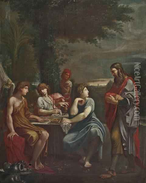 Abraham And The Three Angels Oil Painting - Lodovico Carracci