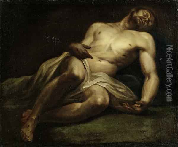 Reclining Christ Oil Painting - Lodovico Carracci