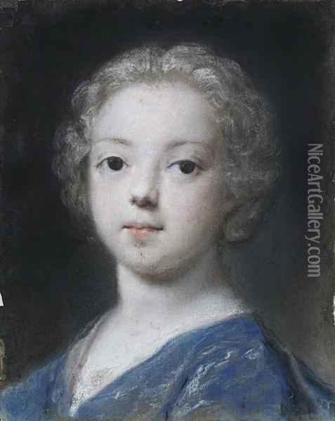 Portrait Of A Young Child, Bust-length, Inblue Costume Oil Painting - Rosalba Carriera