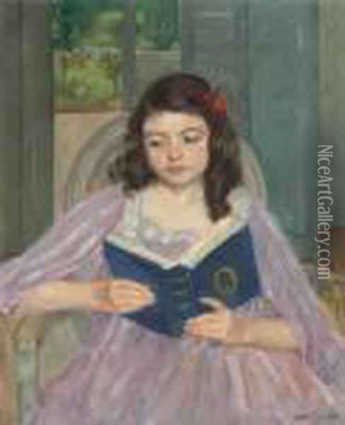 Francoise In A Round-backed Chair, Reading Oil Painting - Mary Cassatt
