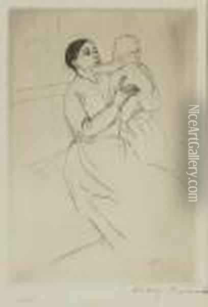 Mother Marie Holding Up Her Baby Oil Painting - Mary Cassatt