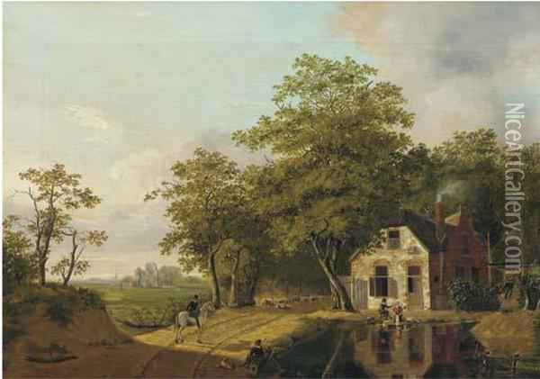 On A Country Road Oil Painting - Jan Gerardus Casteelen