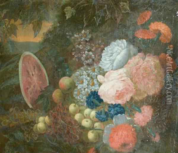 Still Life With Fruit And Flowers In A Garden Oil Painting - Pieter Casteels